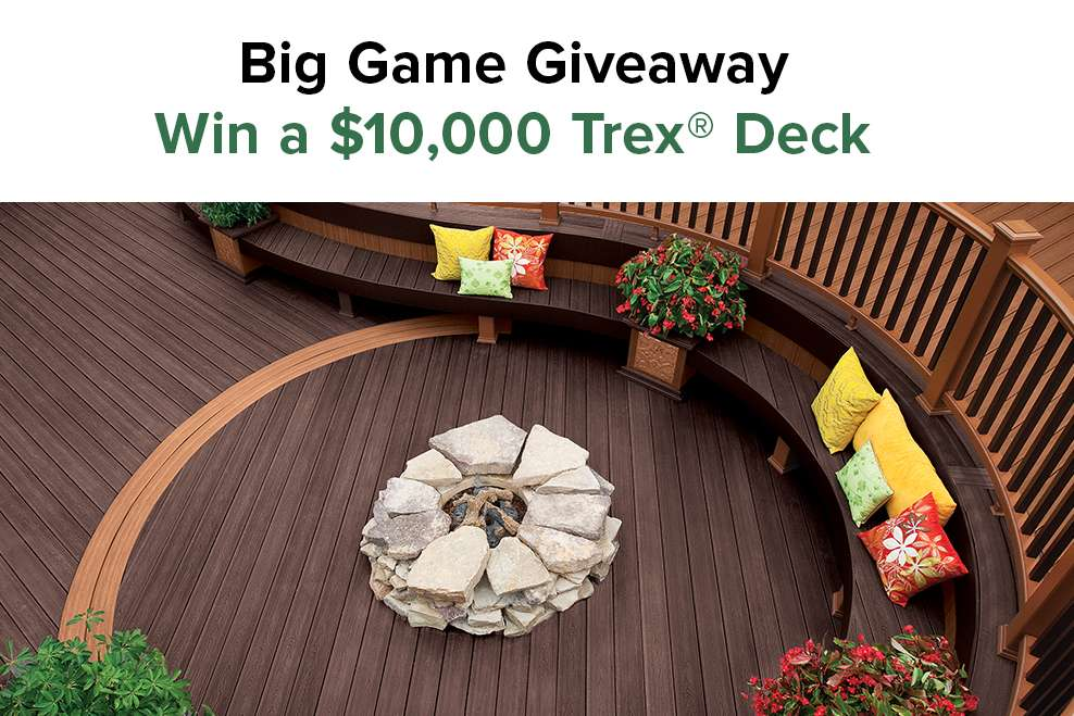 Trex Contest | Win a $10,000 Trex Deck in Our Big Game Giveaway | Trex