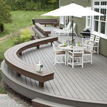 Delightful Blog Cabin Deck Design Featuring Trex Transcend With Furniture And Umbrella