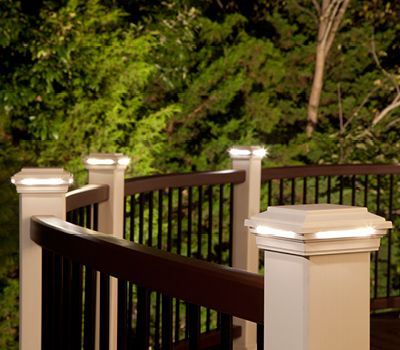 Delightful Accent Your Railing With Deck Post Lights That Surround Your Space With  Warmth