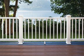 Trex Select Composite Railing In Classic White As Shown In The Cabin  Collection