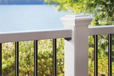 Détail de capuchon de balustres arrondis en aluminium Trex Select