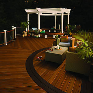 trex transcend in spiced rum ipe and vintage lantern dark brown creates an outdoor oasis day - Deck Design Ideas