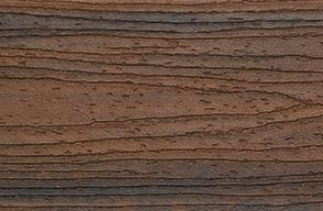 Swatch of Trex Transcend Composite Porch Flooring in ipe color Spiced Rum