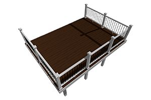 Beveled edge deck design plan created by Trex