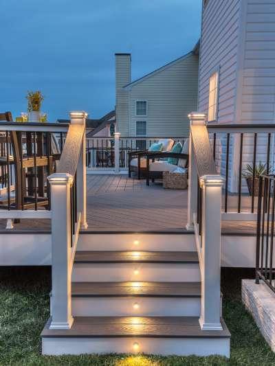 balustrade trex select éclairage pebble grey