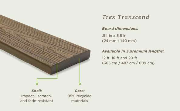 Trex Transcend. Board dimensions: .94 in x 5.5 in (24 mm x 140 mm). Available in 3 premium lengths: 12 ft. 16 ft., and 20 ft (365 cm / 487 cm / 609 cm). Shell: Imact-, scratch-, and fade-resistant. Core: 95% recycled materials.