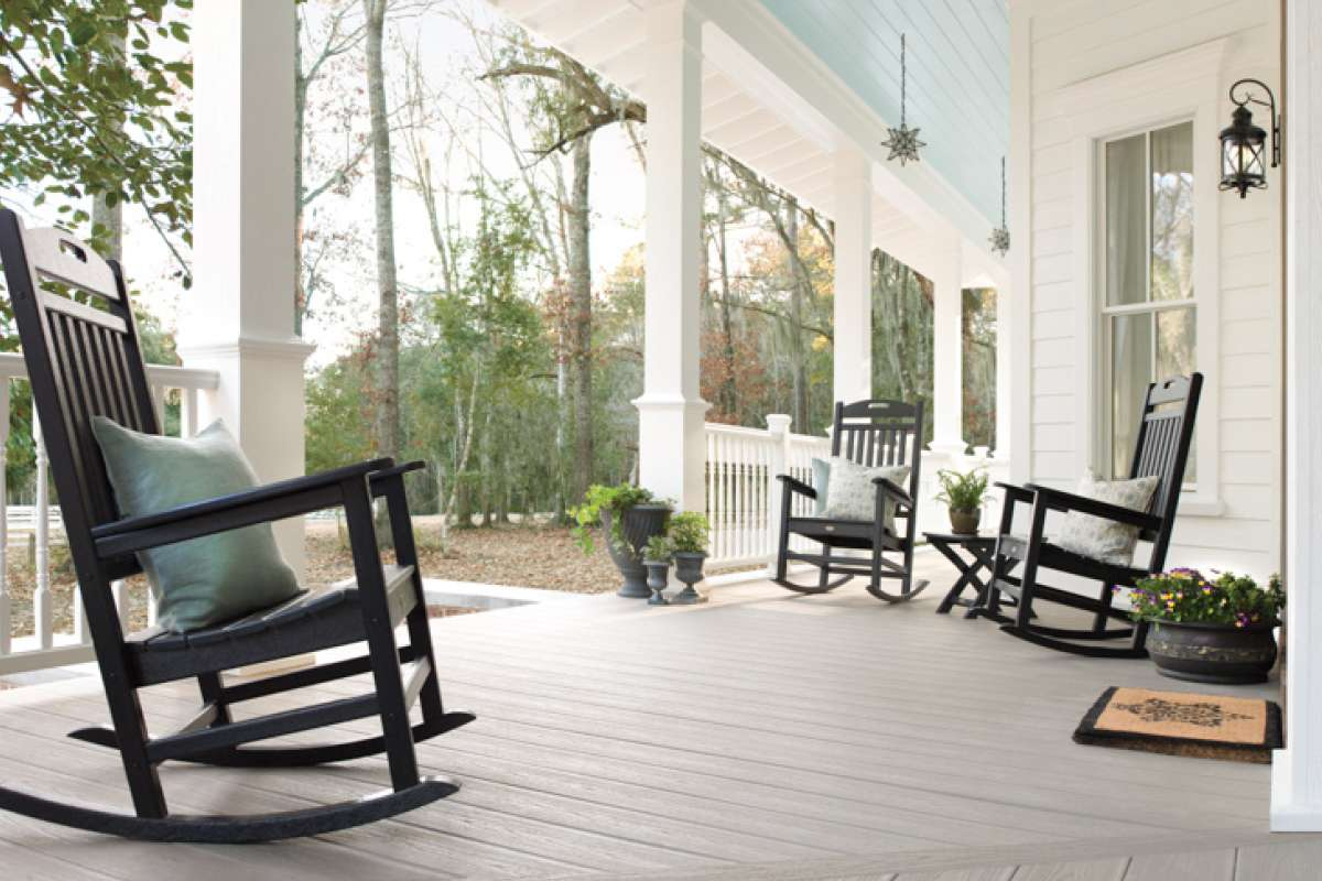 Trex Transcend Decking Gravel Path Porch Rocking Chair Trex