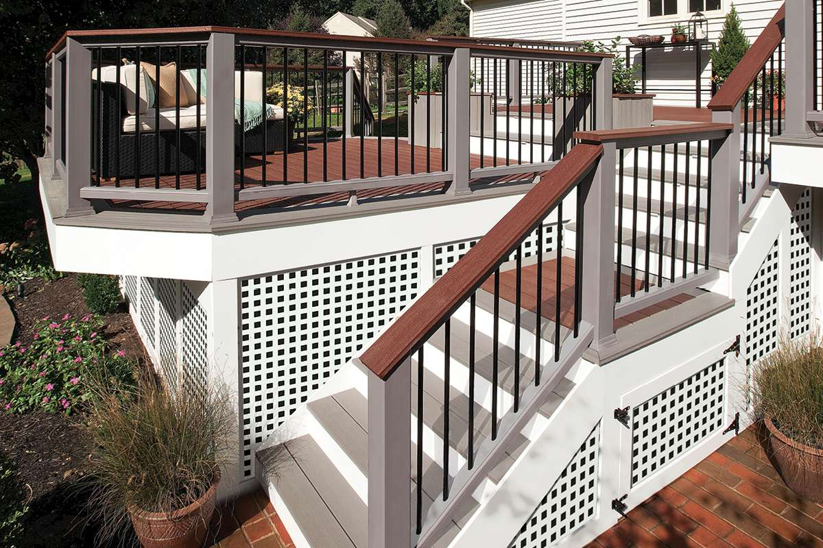 Trex Transcend Decking Railing Fire Pit Gravel Path