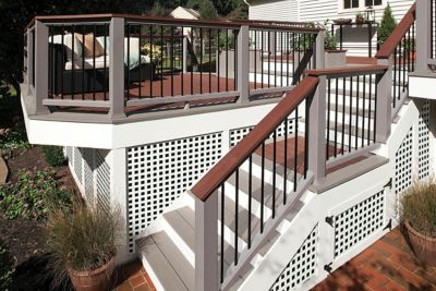 Trex Transcend Decking Railing Fire Pit Gravel Path Lattice Stairs ...