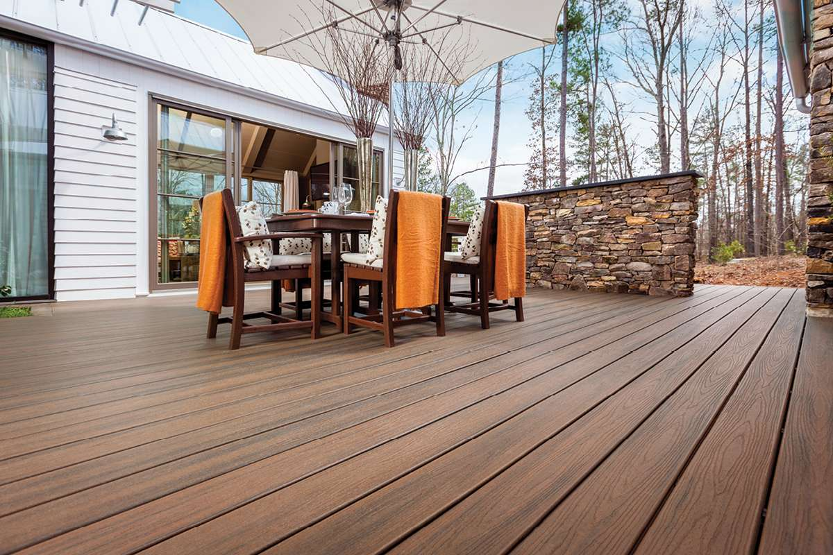 Trex Transcend Decking Spiced Rum Outdoor Dining Table Trex