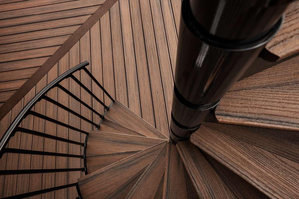 Trex Transcend Decking Spiral Stairs Spiced Rum Trex